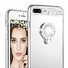 Eiroo Bling Mirror iPhone 7 Plus / 8 Plus Silikon Kenarlı Aynalı Silver Rubber Kılıf - Resim 2