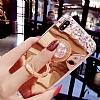 Eiroo Bling Mirror iPhone X Silikon Kenarlı Aynalı Rose Gold Rubber Kılıf - Resim 5