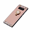 Eiroo Bling Mirror Samsung Galaxy Note 8 Silikon Kenarlı Aynalı Gold Rubber Kılıf - Resim 1