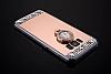 Eiroo Bling Mirror Samsung Galaxy S8 Plus Silikon Kenarlı Aynalı Rose Gold Rubber Kılıf - Resim 1