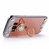 Eiroo Bling Mirror Samsung Galaxy S8 Plus Silikon Kenarlı Aynalı Rose Gold Rubber Kılıf - Resim 2