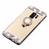 Eiroo Bling Mirror Samsung Galaxy S9 Silikon Kenarlı Aynalı Gold Rubber Kılıf - Resim 1
