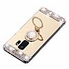 Eiroo Bling Mirror Samsung Galaxy S9 Silikon Kenarlı Aynalı Gold Rubber Kılıf - Resim 3