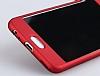 Eiroo Body Fit Huawei P10 360 Derece Koruma Kırmızı Silikon Kılıf - Resim 1