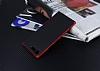 Eiroo Carbon Hybrid Sony Xperia XZ Premium Kırmızı Kenarlı Karbon Siyah Silikon Kılıf - Resim 1