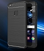 Eiroo Carbon Shield Huawei P10 Lite Ultra Koruma Dark Silver Kılıf - Resim 1