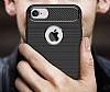 Eiroo Carbon Shield iPhone 7 / 8 Ultra Koruma Dark Silver Kılıf - Resim 3