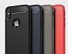 Eiroo Carbon Shield iPhone X Ultra Koruma Dark Silver Kılıf - Resim 3