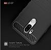 Eiroo Carbon Shield LG G7 ThinQ Ultra Koruma Lacivert Kılıf - Resim 6