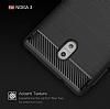 Eiroo Carbon Shield Nokia 3 Ultra Koruma Dark Silver Kılıf - Resim 3
