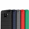 Eiroo Carbon Shield Samsung Galaxy A8 2018 Ultra Koruma Lacivert Kılıf - Resim 1