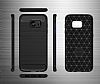 Eiroo Carbon Shield Samsung Galaxy S7 edge Ultra Koruma Dark Silver Kılıf - Resim 4