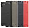 Eiroo Carbon Shield Sony Xperia XZ Süper Koruma Lacivert Kılıf - Resim 6