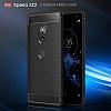 Eiroo Carbon Shield Sony Xperia XZ2 Ultra Koruma Dark Silver Kılıf - Resim 1