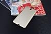 Eiroo Carbon Thin Sony Xperia C5 Ultra Süper İnce Gold Silikon Kılıf - Resim 1