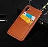 Eiroo Card Pass Apple iPhone X Deri Kartlıklı Kahverengi Kılıf - Resim 3