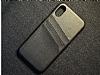 Eiroo Card Pass Apple iPhone X / XS Deri Kartlıklı Siyah Kılıf - Resim 7