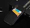 Eiroo Card Pass Apple iPhone X / XS Deri Kartlıklı Siyah Kılıf - Resim 6
