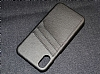 Eiroo Card Pass Apple iPhone X / XS Deri Kartlıklı Siyah Kılıf - Resim 5