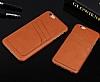 Eiroo Card Pass iPhone 6 / 6S Deri Kartlıklı Kahverengi Kılıf - Resim 3