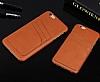 Eiroo Card Pass iPhone 7 Plus / 8 Plus Deri Kartlıklı Kahverengi Kılıf - Resim 3