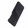 Eiroo Card Pass iPhone 7 Plus / 8 Plus Deri Kartlıklı Siyah Kılıf - Resim 3