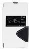 Eiroo Clasps Sony Xperia Z Standl� Pencereli Beyaz Deri K�l�f