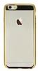 Eiroo Clear Thin iPhone 6 Plus / 6S Plus Gold Kenarlı Şeffaf Rubber Kılıf - Resim 3