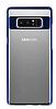Eiroo Clear Thin Samsung Galaxy Note 8 Lacivert Kenarlı Şeffaf Rubber Kılıf - Resim 3