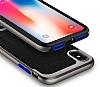 Eiroo Efficient iPhone X Silver Kenarlı Ultra Koruma Kılıf - Resim 2