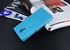 Eiroo General Mobile GM 5 Plus Cüzdanlı Yan Kapaklı Mavi Deri Kılıf - Resim 4