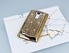 Eiroo Glows LG G4 Taşlı Gold Rubber Kılıf - Resim 1