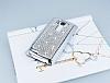 Eiroo Glows LG G4 Taşlı Silver Rubber Kılıf - Resim 1