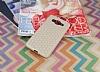 Eiroo Honeycomb Samsung Galaxy Grand Prime / Prime Plus Krem Silikon Kılıf - Resim 1