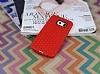 Eiroo Honeycomb Samsung Galaxy S6 edge Kırmızı Silikon Kılıf - Resim 1