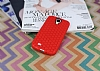 Eiroo Honeycomb Samsung i9500 Galaxy S4 Kırmızı Silikon Kılıf - Resim 1