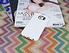 Eiroo Honeycomb Samsung i9800 Galaxy S6 Beyaz Silikon Kılıf - Resim 1