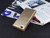 Huawei P8 Lite Gizli Mıknatıslı Çift Pencereli Gold Deri Kılıf - Resim 2