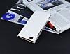 Huawei P8 Lite Gizli Mıknatıslı Çift Pencereli Beyaz Deri Kılıf - Resim 2