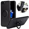 Eiroo Infinity Ring iPhone 7 Plus / 8 Plus Selfie Yüzüklü Siyah Silikon Kılıf - Resim 2