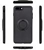 Eiroo Infinity Ring iPhone 7 Plus / 8 Plus Selfie Yüzüklü Siyah Silikon Kılıf - Resim 1