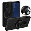 Eiroo Infinity Ring Samsung Galaxy A8 Plus 2018 Selfie Yüzüklü Siyah Silikon Kılıf - Resim 3