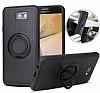 Eiroo Infinity Ring Samsung Galaxy J7 Prime Selfie Yüzüklü Siyah Silikon Kılıf - Resim 2