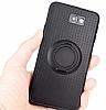 Eiroo Infinity Ring Samsung Galaxy J7 Prime Selfie Yüzüklü Siyah Silikon Kılıf - Resim 1