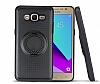 Eiroo Infinity Ring Samsung Galaxy J7 Selfie Yüzüklü Siyah Silikon Kılıf - Resim 1