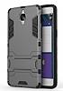 Eiroo Iron Armor OnePlus 3 Standlı Ultra Koruma Dark Silver Kılıf - Resim 1