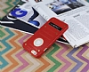 Eiroo Lesan iPhone 6 / 6S Standlı Metal Delikli Kırmızı Rubber Kılıf - Resim 3
