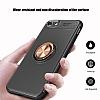 Eiroo Liquid Ring iPhone SE 2020 Standlı Silikon Siyah-Rose Gold Silikon Kılıf - Resim 5
