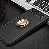 Eiroo Liquid Ring iPhone SE 2020 Standlı Silikon Siyah-Rose Gold Silikon Kılıf - Resim 3
