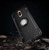 Eiroo Mage Fit Huawei Mate 9 Pro Standlı Ultra Koruma Gold Kılıf - Resim 1